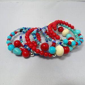 Jewelry - Boho Bracelet Memory Wire Beads  8 layers